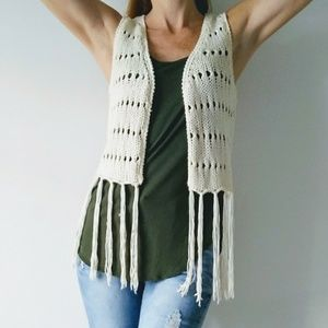 Dolled Up by Fang crocheted sweater vest fringe